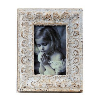 Privilege Distressed White Ceramic Photo Frame