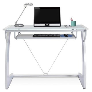 White Glass Desk with Keyboard Tray