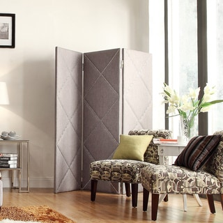 Inspire Q Keenan Desmond 3-panel Gray Linen Floor Screen