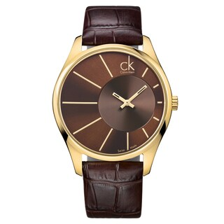 Calvin Klein Men's 'Deluxe' Yellow Gold-Tone PVD Coated Stainless Steel Brown Leather Watch