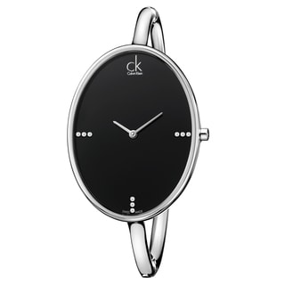 Calvin Klein Women's 'Sartoria' Stainless Steel Swiss Quartz Black Dial Watch
