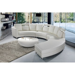 Beliani Rotunde White Modern Design Round Leather Sectional