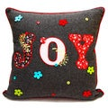 Square Grey Joy Holiday Down Filled Throw Pillow