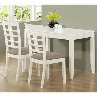 3 Piece Pearl White Space Saver Table Set