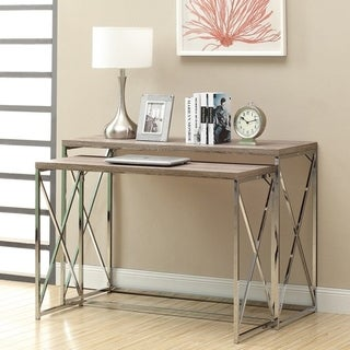 Dark Taupe/ Chrome Console Tables (Set of 2)