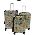 Kemyer World Series Mocha Stamp 3-piece Wide Body Polycarbonate Hardside Spinner Luggage Set