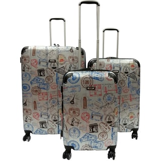 Kemyer Silver Stamp World Series 3-piece Wide Body Polycarbonate Hardside Spinner Luggage Set