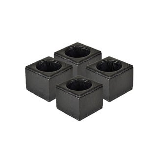 Faux Leather Black Snakeskin Square Napkin Ring Set (Set of 4)