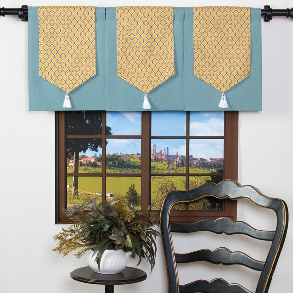 Yellow Damask on Blue Cotton Design Your Single Panel Window Valance (As Is Item)
