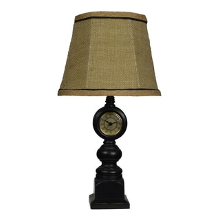 Black Clock Table Lamp