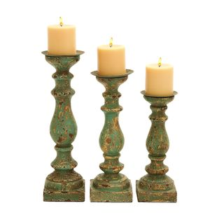 Wooden Calming Green Finish Candle Holder (Set of 3)