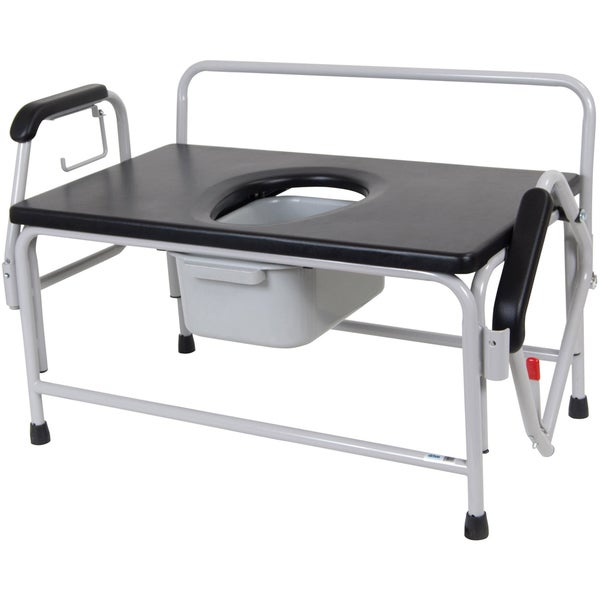 Bariatric Drop-arm Low-back Bedside Commode Seat