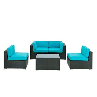 Camfora Outdoor Patio 5-piece Espresso/ Turquoise Sectional Set