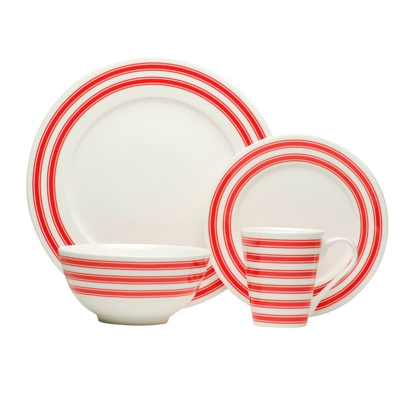Red Race Stripe White Dinner Set (Set of 16)