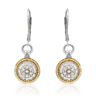 14k Two-tone Gold and Silver 1/5ct TDW Diamond Leverback Earrings (H-I, SI1-SI2)