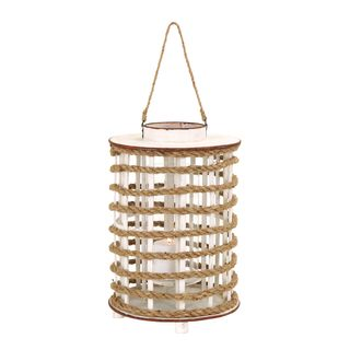 Rope Lantern Large Wooden Candle Holder