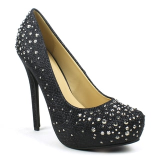 Celeste Women's 'Ingrid-02' Netted-glitter Rhinestoned Dress Pumps