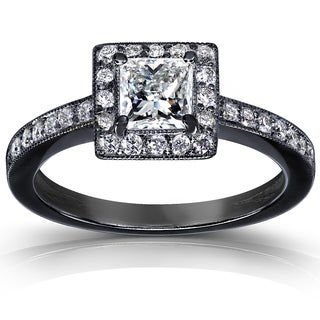Annello 14k Gold 3/4ct TDW Diamond Halo Ring with Black Ceramic Coating (H-I, I1-I2)