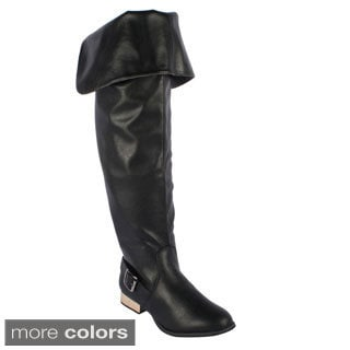 Refresh Women's 'Shar-01' Flat Over-the-Knee Boots