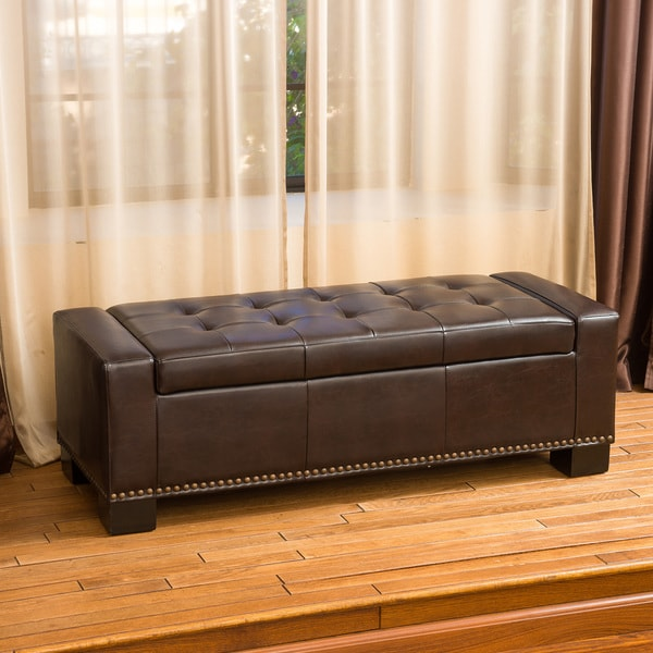 Christopher Knight Home Luciano Brown Leather Storage Ottoman