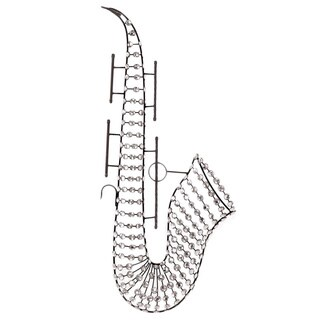 Glass-accented Metal Saxophone Wall Piece