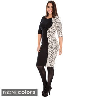 A Plus Style Women's Plus Size Lace Panel Ponte Dress