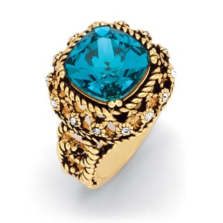 Lillith Star Gold Overlay Blue Crystal Rope Ring