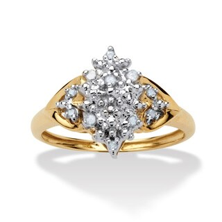 Isabella Collection 10k Yellow Gold 1/10ct TDW Diamond Cluster Spray Ring (G-H, I2-I3)