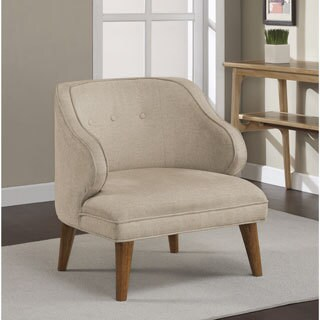 Retro Curved Buff Tufted Arm Chair