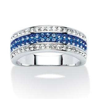 PalmBeach Jewelry Platinum-plated Blue/ White Austrian Crystal Row Ring made with Swarovski Elements