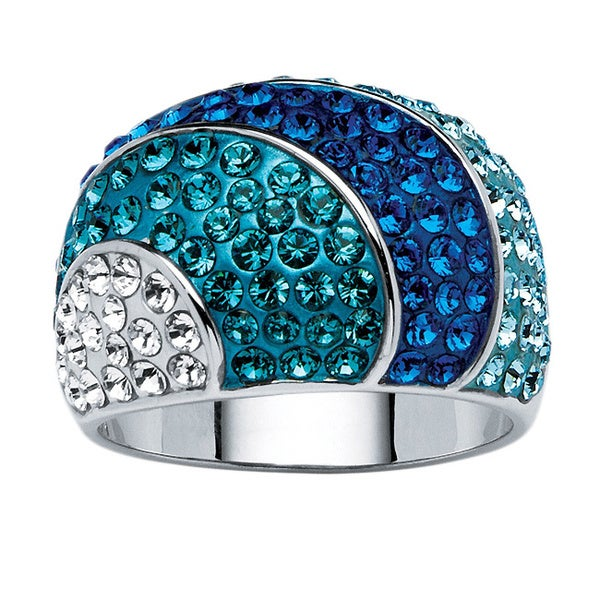 PalmBeach Jewelry Platinum-plated Austrian Crystal Dome Ring made with Swarovski Elements Color Fun