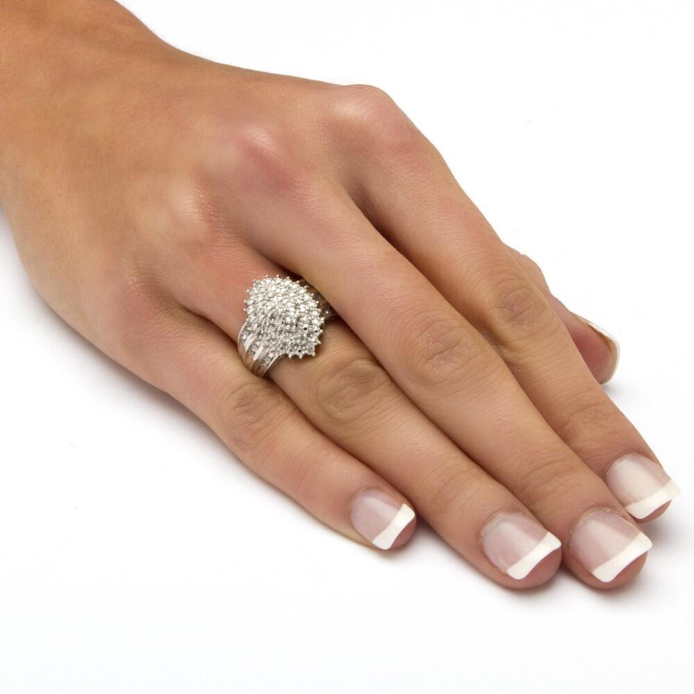 PalmBeach Jewelry PalmBeach Round Diamond Accent Marquise-shaped Ring