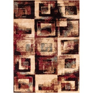 Shaded Squares Tone and Tone Beige Area Rug (7'10 x 9'10)