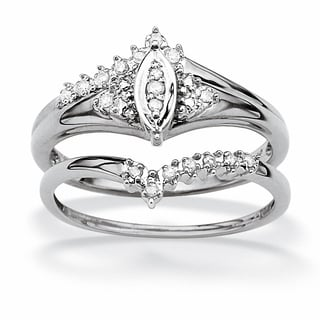 PalmBeach 1/10 TCW Round Diamond 10k White Gold Marquise-Shaped Bridal Engagement Ring Set