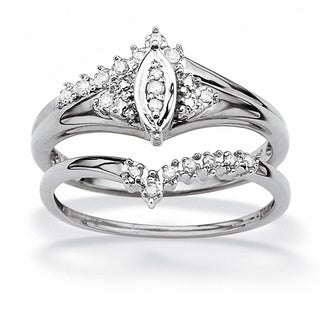 PalmBeach 10K White Gold Marquise Shape Diamond Accent Bridal Set