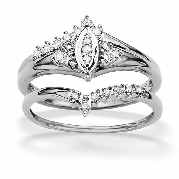 PalmBeach 1/10 TCW Round Diamond 10k White Gold Marquise-Shaped Bridal Engagement Ring Set