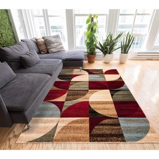 Geometric Abstract Patchwork Modern Shapes Ivory, Beige, Red, Blue, and Brown Area Rug (7'10 x 9'10)