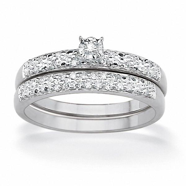 PalmBeach Platinum over Silver 1/10ct TDW Round Diamond Bridal Set (G-H, I2-I3)