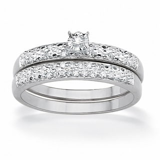 Isabella Collection Platinum over Silver 1/10ct TDW Round Diamond Bridal Set (G-H, I2-I3)