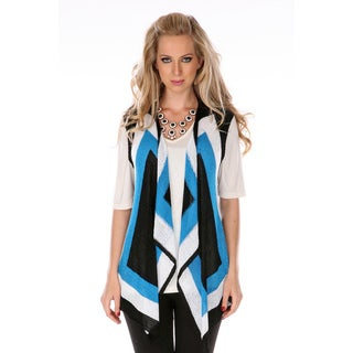 Women's Black and Turquoise Geometric Print Sleeveless Cardigan