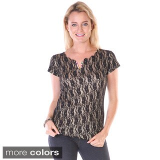 Stanzino Juniors Floral Lace Glittery Top