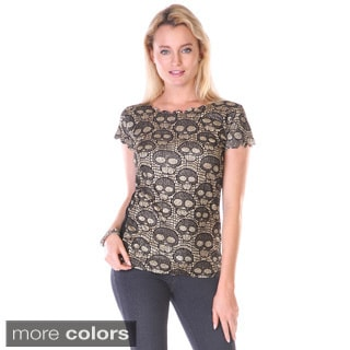 Stanzino Juniors Skull Print Glittered Top