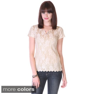 Stanzino Juniors Sheer Back Glitter Lace Top