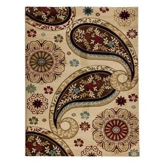 Paisley Floral Ivory Area Rug (7'10 x 9'10)