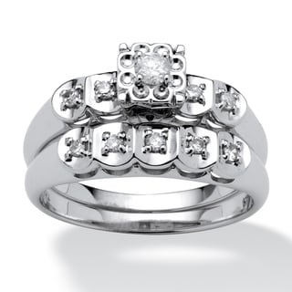 Isabella Collection Platinum over Silver 1/3ct TDW Diamond Bridal Set (I-J, I2-I3)