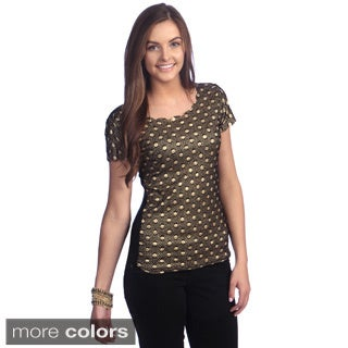 Stanzino Juniors Glitter Polka Dot Short Sleeve Blouse
