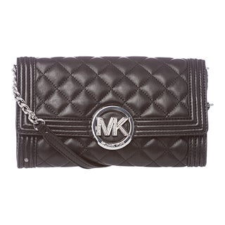 MICHAEL Michael Kors 'Fulton Bombe' Black Leather Clutch