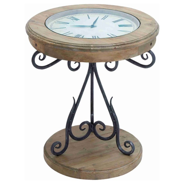 Natural Wood Inset Clock Table