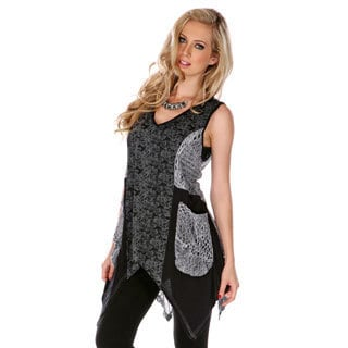 Women's Black-and-Gray Missy Fit Spliced Top