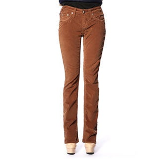 Stitch's Women's Brown Straight Leg Corduroy Denim Jeans